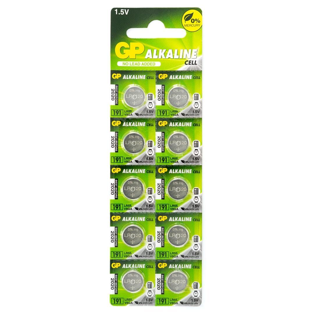 Бутонна алкална батерия GP 191 LR-1120, 10 бр. pack, цена за 1 бр., 1.55V