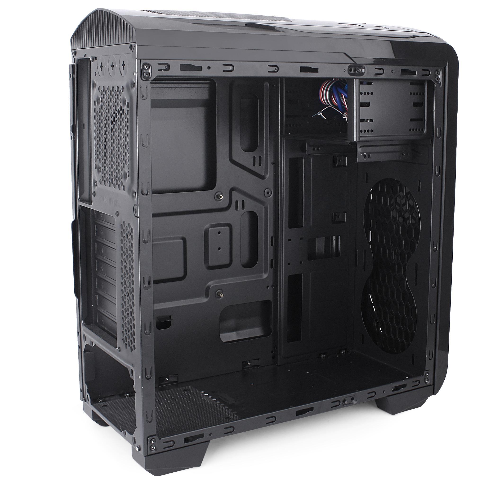Кутия SPIRE SPITZER 20 X2-C6020B-V2-U3 Blue Led, ATX, Черна
