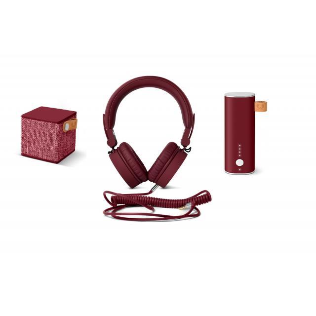 Fresh & Rebel Ruby Подаръчен комплект, Powerbank 3000 + CUBE  + CAPS, Червен