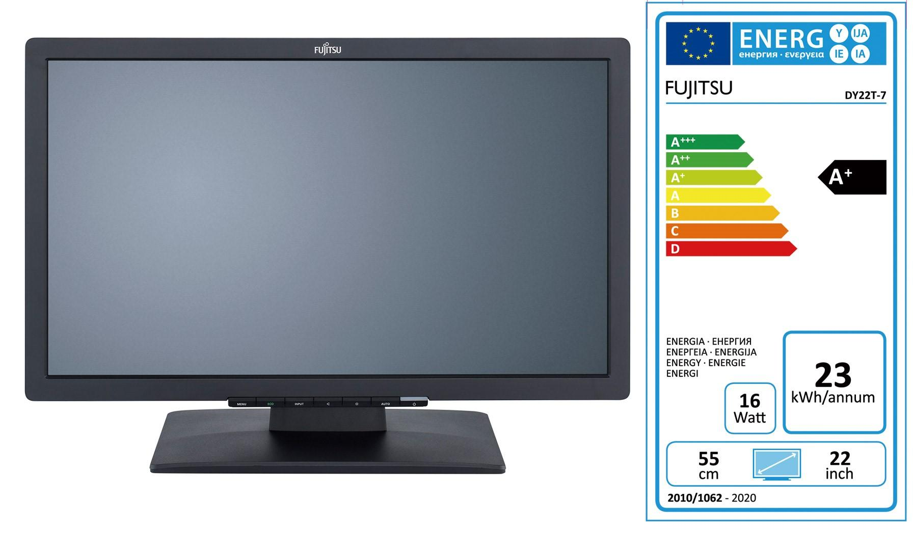 Монитор FUJITSU E22T-7 Pro, IPS, 21.5 inch, Wide, Full HD, DVI, VGA, HDMI, Черен
