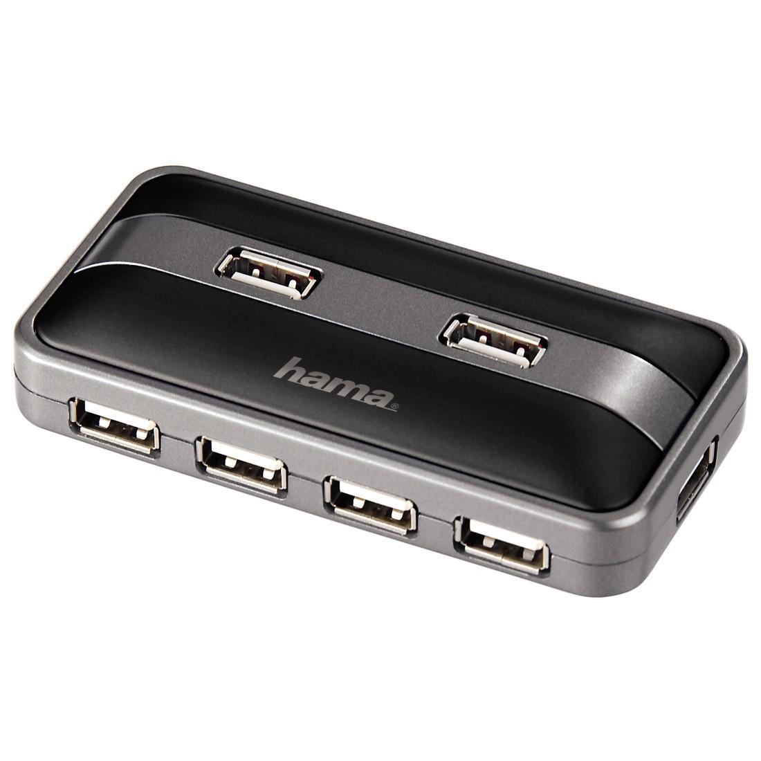 USB хъб HAMA със захранване, USB2.0, Черен
