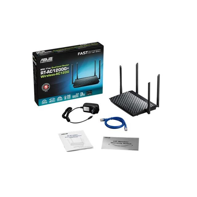 Безжичен рутер ASUS RT-AC1200G+, Двубандов AC1200, 300+867 Mbps, USB 2.0, Gigabit
