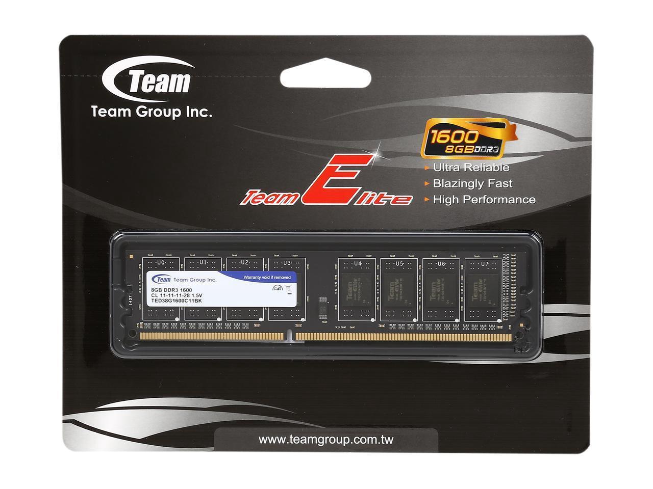 Памет Team Group Elite DDR3 - 8GB, 1600 mhz, CL11-11-11-28 1.5V